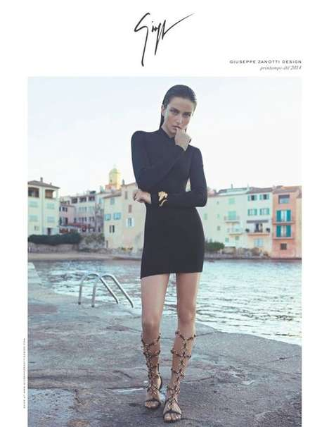 Grecian Import Fashion Campaigns - The Giuseppe Zanotti Spring/Summer 2014 Ads Are European-Themed