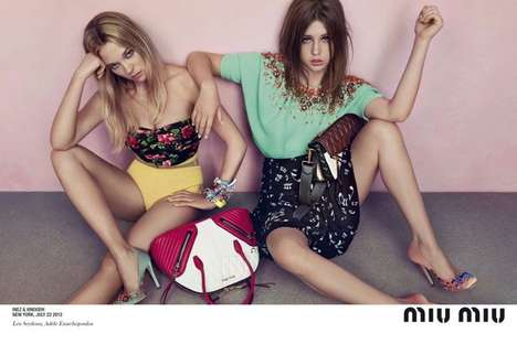 Patterned Pastel Fashion Campaigns - The Miu Miu Resort 2014 Ads Display Patterns and Pale Colors