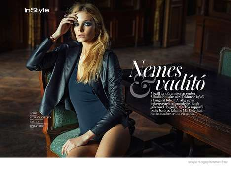Edgy Luxe Editorials - The Latest Instyle Hungary Issue Stars Model Eniko Mihalik