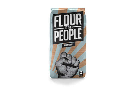 Power-Based Flour Packaging - 'Flour to the People' is a Pun on a Popular Saying