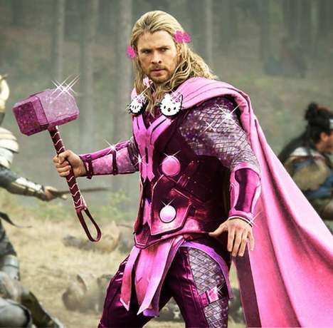 Flamboyant Superhero Mash-Ups - This Superhero Photo Series Features Avengers in Hello Kitty Gear