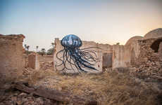 Dome-Intergated Murals - ROA's Creative Street Art Makes Use of Structures with Domes