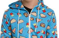 Fast Food Junkie Apparel - This Pixelated Hot Topic Hoodie is Adorned with a Vibrant Food Print