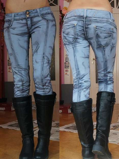 Realistic Cartoon Clothing - These Comic Book-Inspired Denim Jean Designs Look Entirely Hand Drawn