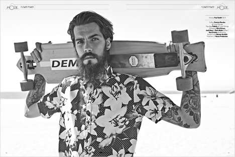 Hipster-Themed Skater Portraits - GQ France's Flower Power Fashion Story Embodies Californian Style