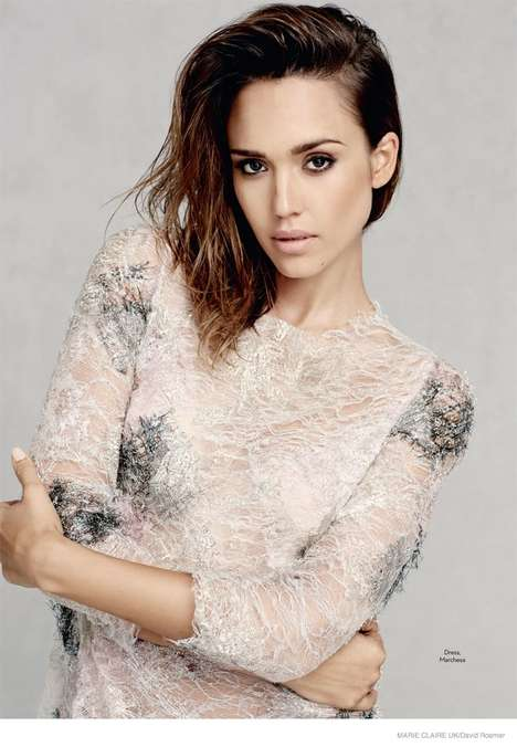 Ethereal Fall Fashion - Jessica Alba is a Vision in Lace and Feathers for Marie Claire UK
