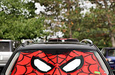 Superhero Windshield Sunshades - This Spider-Man Accessory Keeps the Sun Out of Your Car