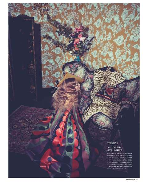 Rococo Couture Editorials - Model Natasa Vojnovic Poses in Posh Settings for Numéro Tokyo