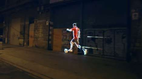 Projection-Mapped Shoe Ads - Adidas' Projection Mapping Brings Leo Messi to the Streets of Barcelona