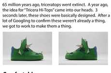 Dinosaur-Shaped Sneakers - The Tricera Hi-Tops Dinosaur Shoes Are Breathable and Rugged
