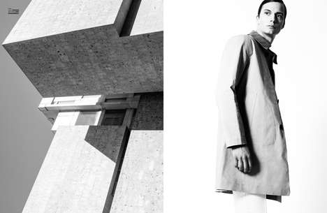 Architectural Menswear Editorials - The Monochrome Set Story for The Ones 2 Watch is Sophisticated