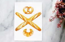 Carb-Obsessed Art Greetings - Etsy's Pretzel Croissant Baguettes Postcards Set is Charming