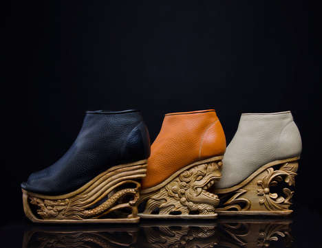 Carved Dragon Shoes - LanVy Nguyen of Saigon Socialite Creates Artistic Asian Platforms