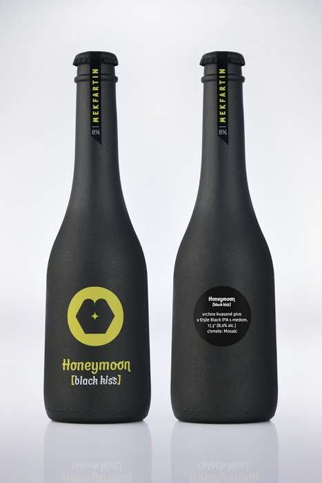Loving Beer Bottles - Honeymoon Black Kiss is Packaged in a Minimal Dark Beer Bottle, with Love