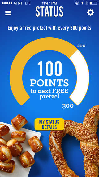 Pretzel Point Apps - Auntie Ann's Pretzel Perks Mobile Loyalty App Puts Points Towards Tasty Rewards