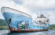Neon Street Art - Ludo's Colorized Art is Painted on Ships, Docks and Walls in the Caribbean