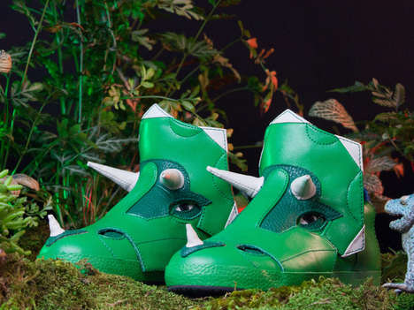 Prehistoric Triceratops Sneakers - These Innovative Dinosaur Shoe Designs are Great for Kids