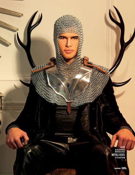 Medieval Menswear Editorials - NEW ICON's Dark Knight Fashion Story Highlights Chained Metal Attire