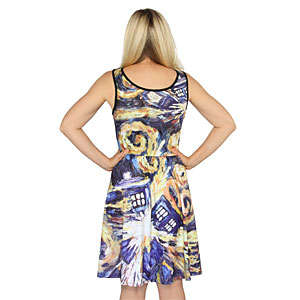 Painterly Intergalactic Dresses - This TARDIS Doctor Who Dress Looks Like a Van Gogh Painting