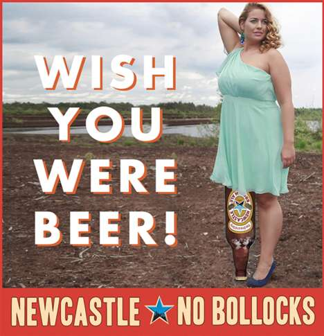 Intentionally Awful Ads - Newcastle Brown's Beer Ad Campaign Wants to Badly Photoshop You into an Ad