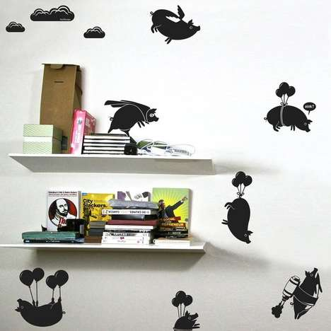 Airborne Bovine Decals - The Flying Pigs Sticker Pack Makes Sure Your Kids Reach the Impossible