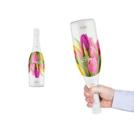 Bouquet Wine Bottles - Blossom Cava's Sparkling Wine Packaging Looks Like Fresh-Picked Flowers