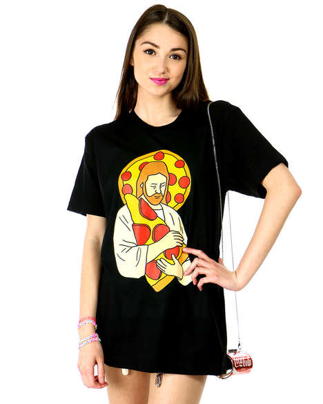 Godly Fast Food Apparel - Shop Jeen's Pizza Jesus Tee Prays for Everyone's Favorite Snack