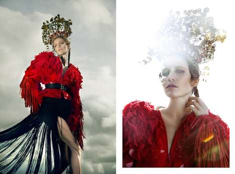 Bohemian Monarch Editorials - Glassbook Magazine's Red Story Image Series Embodies Opulence
