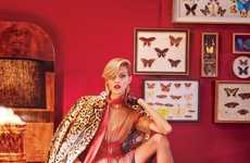 Butterfly Boudoir Editorials - Models Daria Strokous and Anja Rubik Pose for W Magazine