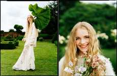 Flora-Fauna Fashion Photoshoots - The Teen Vogue English Rose Editorial Features Natural Props