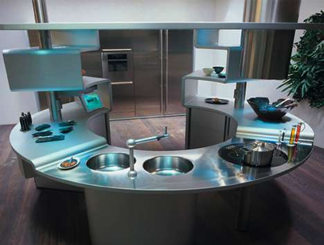 33 Modern Kitchen Concepts - From Aquarium Kitchen Islands to Portable Cubed Kitchens