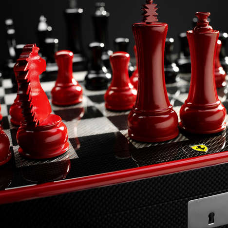 Sports Car Chess Sets - The Ferrari Carbon Fiber Chess Set is Built for Speed
