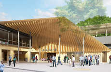 Timber Canopied Train Stations - Kengo Kuma Presents Plans for the Takaosanguchi Station