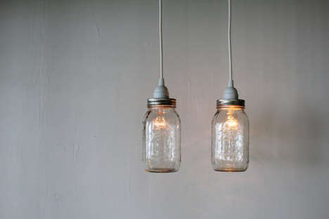Suspended Jar Lighting - These Pendant Mason Jar Lights are Perfect for Creating a Rustic Home Decor