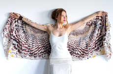 Avian Feather Scarves - These Stunning Scarf Designs Come With a Print of a Pair of Bird Wings