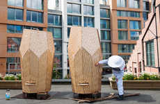 Wooden Rooftop Beehives - The Vulkan Beehive by Snohetta is Intricate