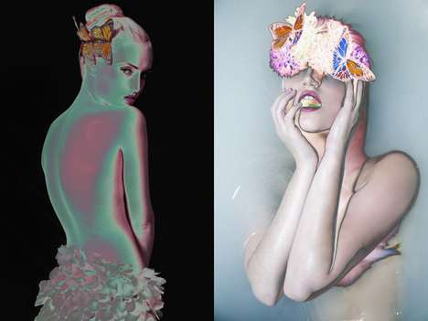 Film Negative Beauty Portraits - Glassbook Magazine's Flora Image Series is Conceptually Striking