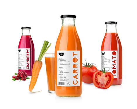 Color-Coded Juice Packaging - The F.J.C. Direct Juice Highlights the Color of its Flavor