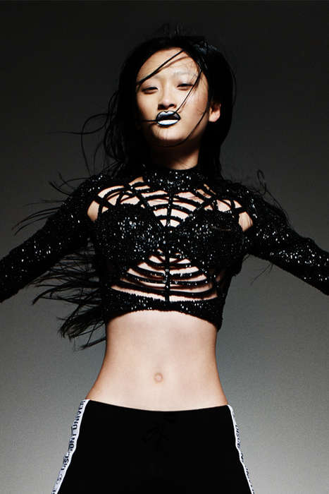 Vampy Sequin Apparel - This Spider Web Bustier Top from DI$COUNT UNIVER$E is Glamorously Edgy