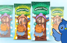 Peekaboo Snack Packaging - Mishutka's Snack Packaging Features Clever Cutouts and a Curious Bear