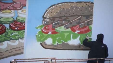 Freshly Painted Food Billboards - Gregg's Billboard Ad Has an Artist Prepare Food Paintings Live