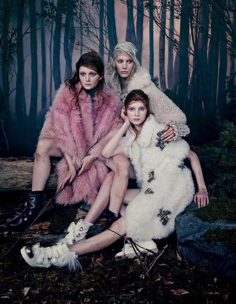 Mystical Woodland Editorials - The Collaborative Vogue Japan Shoot Stars Zlata Mangafic and Others