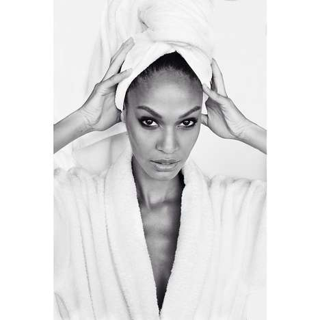 Bathrobed Beauty Photography - Mario Testino's Behind the Scenes Towel Series Now Stars Joan Smalls