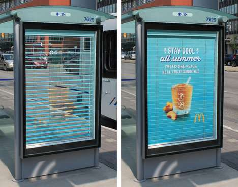 Vertical Blind Billboards - McDonald's Bus Shelter Billboard Keeps People Cool with Shaded Blinds