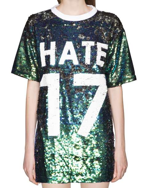 Festive Pessimist Apparel - Pixie Market's Varsity Boyfriend Tunic Boasts the Word 'Hate'