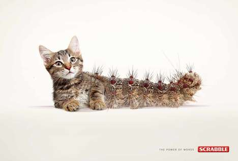 Hybrid Animal Ads - This 'Cat-erpillar' Campaign from Scrabble Blends a Cat and Caterpillar Together