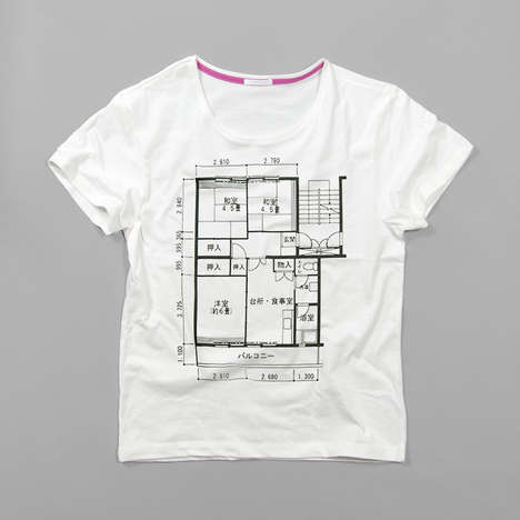 Graphic House Hunting Tees - These Floorplan T-Shirts Chronicle Japan's Residential Styles