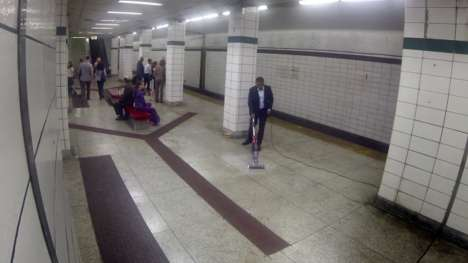 Disgusting Floor Cleaner Ads - This Bissell Canada Ad Shows a Man Eating Off a Subway Platform Floor