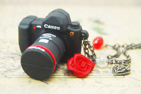 Rubber Camera Necklaces - This Adorable Camera Necklace Charm Also Doubles Up as a USB