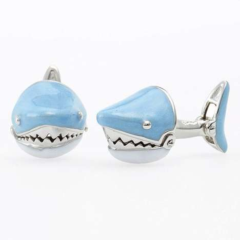Predatory Shark Cufflinks - These Fish-Themed Shirt Cufflink Designs are Perfect for Ocean Lovers